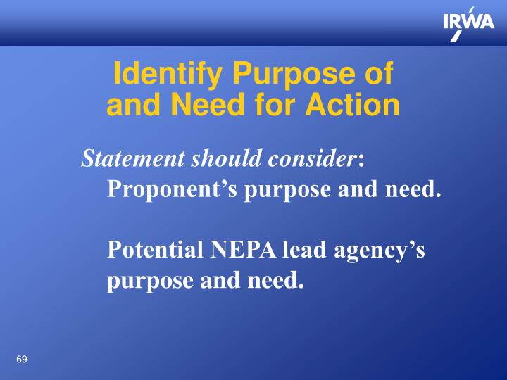 Identify Purpose of