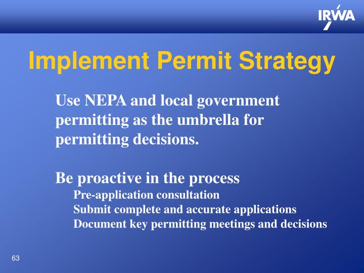 Implement Permit Strategy