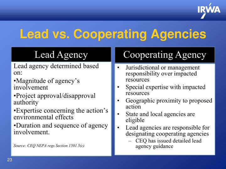 Lead vs. Cooperating Agencies