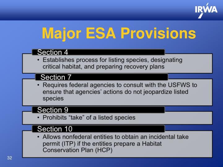 Major ESA Provisions