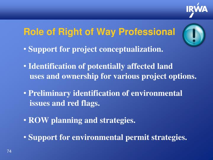 Role of Right of Way Professional