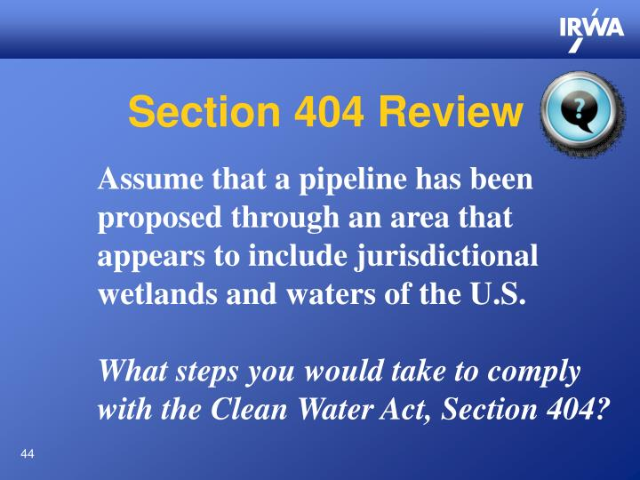 Section 404 Review