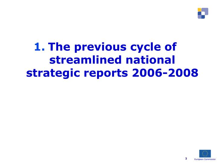 The previous cycle of streamlined national strategic reports 2006-2008