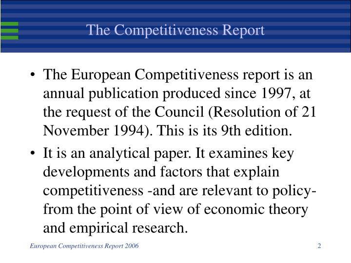 The competitiveness report