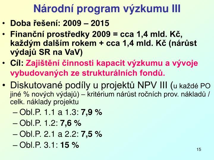 Národní program výzkumu III