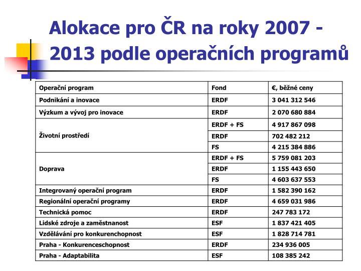 Alokace pro ČR na roky 2007 - 2013 podle operačních programů