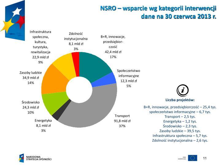 NSRO – wsparcie wg kategorii interwencji