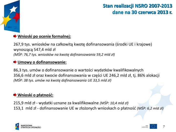 Stan realizacji NSRO 2007-2013