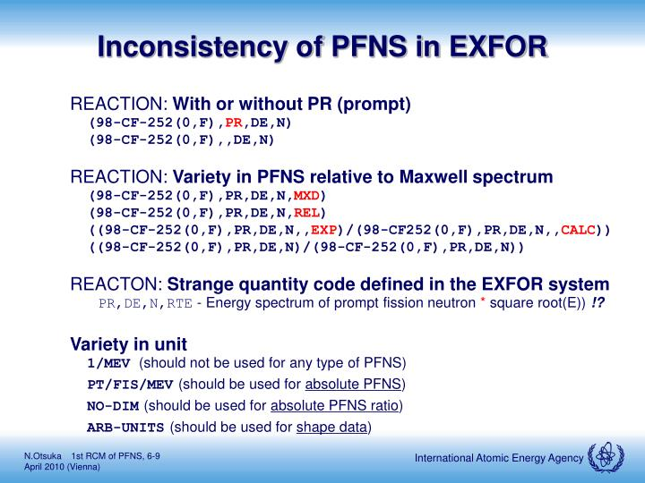 Inconsistency of PFNS in EXFOR