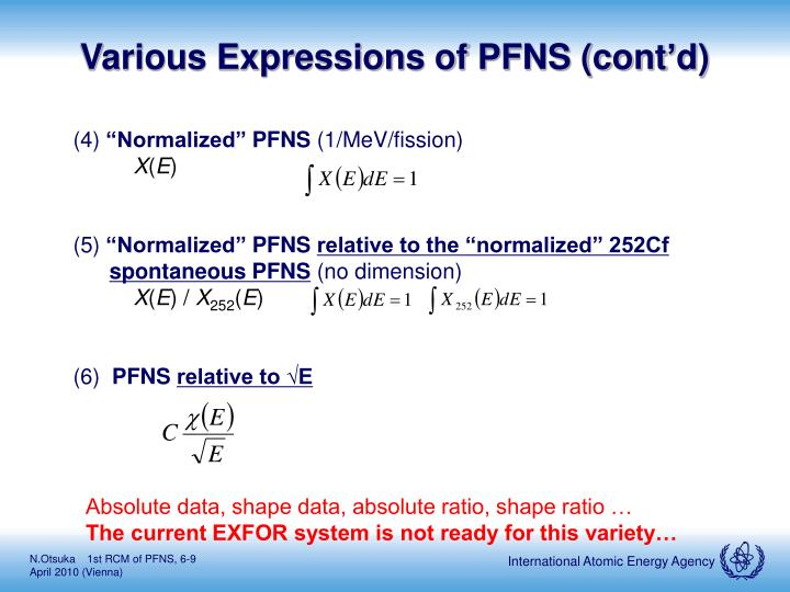 Various Expressions of PFNS (cont'd)