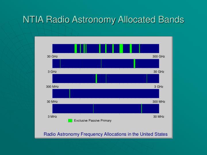 NTIA Radio Astronomy Allocated Bands