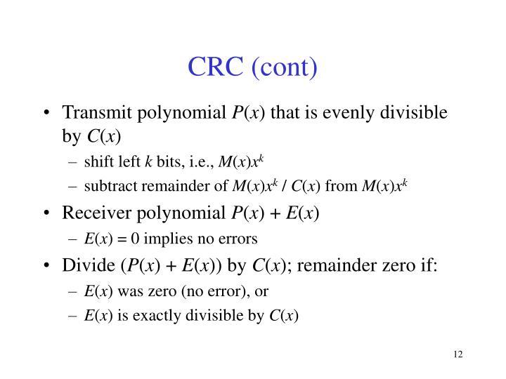 CRC (cont)