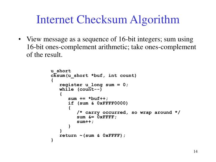 Internet Checksum Algorithm