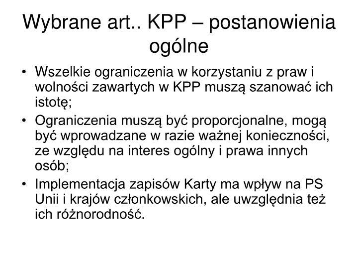 Wybrane art.. KPP – postanowienia ogólne