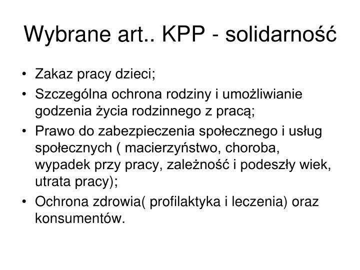 Wybrane art.. KPP - solidarność