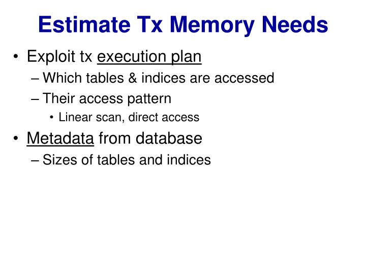Estimate Tx Memory Needs