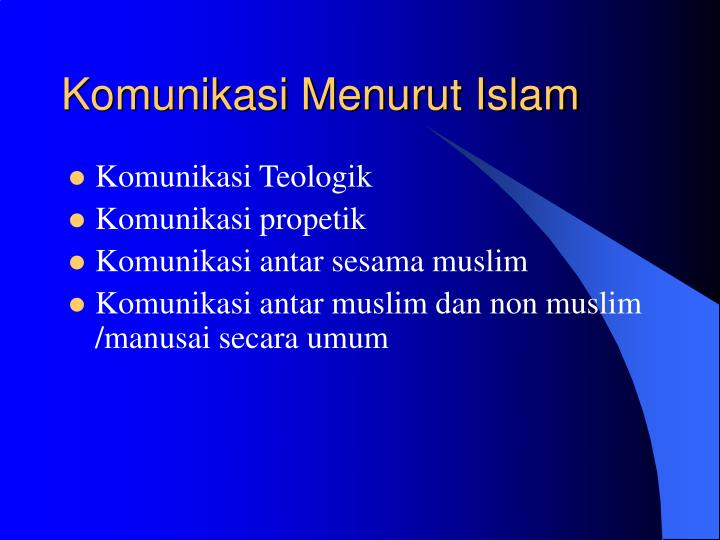 Komunikasi Menurut Islam