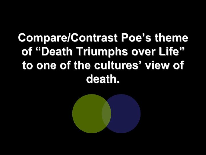 "Compare/Contrast Poe's theme of ""Death Triumphs over Life"" to one of the cultures' view of death."