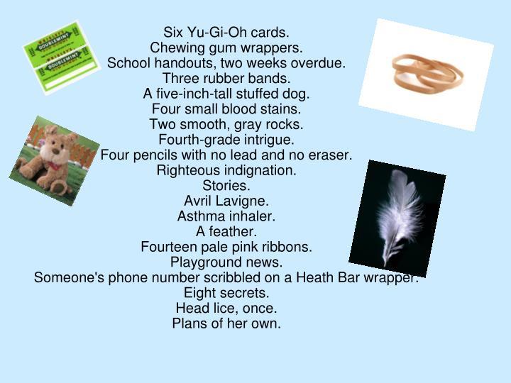 Six Yu-Gi-Oh cards.