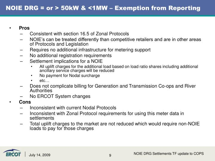 NOIE DRG = or > 50kW & <1MW – Exemption from Reporting