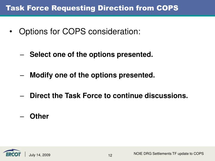 Task Force Requesting Direction from COPS