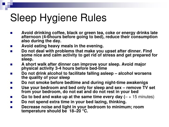 Sleep Hygiene Rules