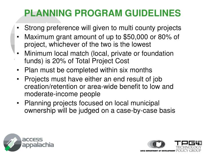 PLANNING PROGRAM GUIDELINES