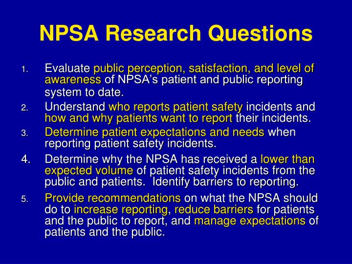 NPSA Research Questions