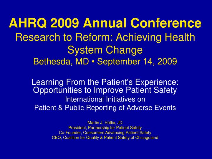 AHRQ 2009 Annual Conference