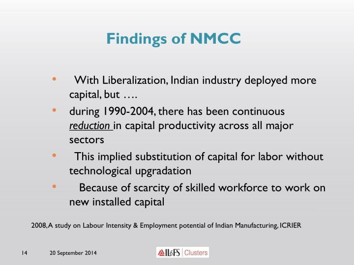 Findings of NMCC