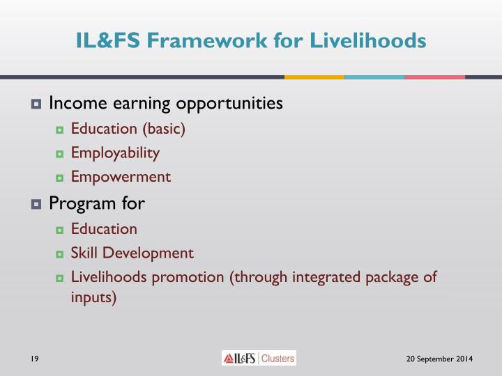 IL&FS Framework for Livelihoods