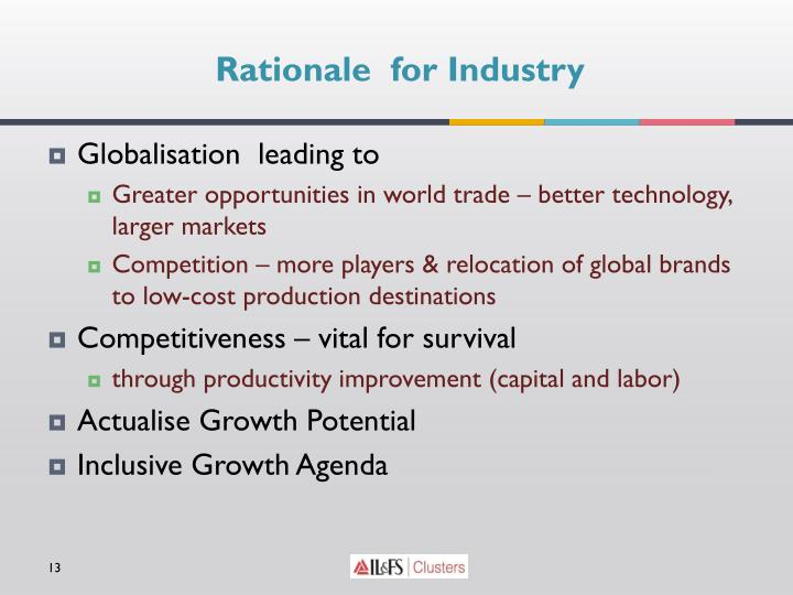 Rationale  for Industry