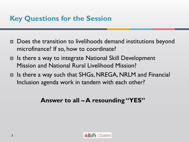 Key Questions for the Session