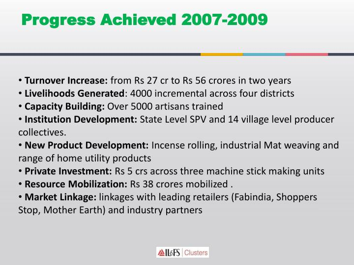 Progress Achieved 2007-2009