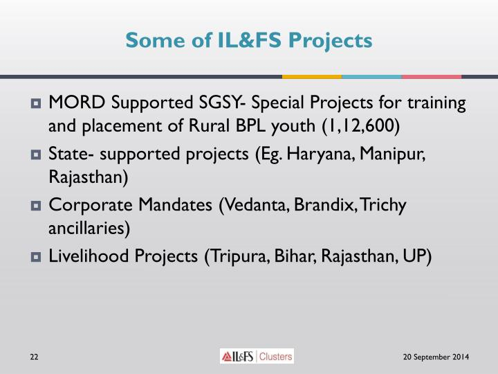 Some of IL&FS Projects