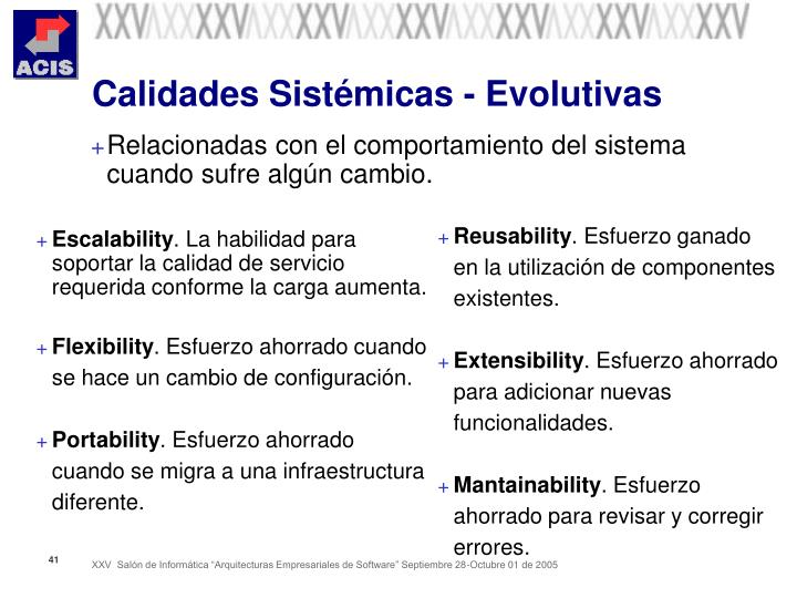Calidades Sistémicas - Evolutivas