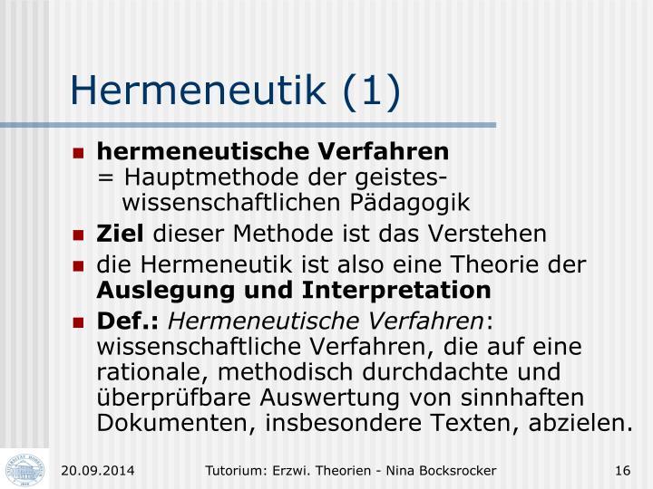 Hermeneutik (1)