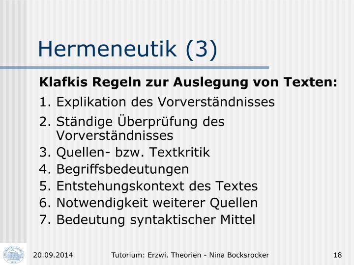 Hermeneutik (3)