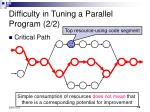 difficulty in tuning a parallel program 2 2