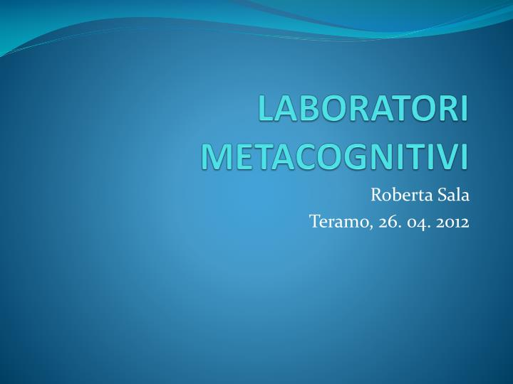 Laboratori metacognitivi