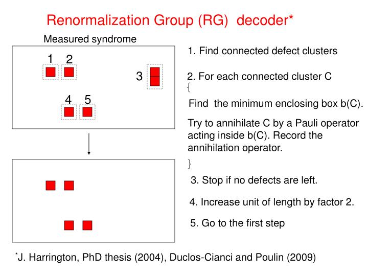 Renormalization Group (RG)  decoder*