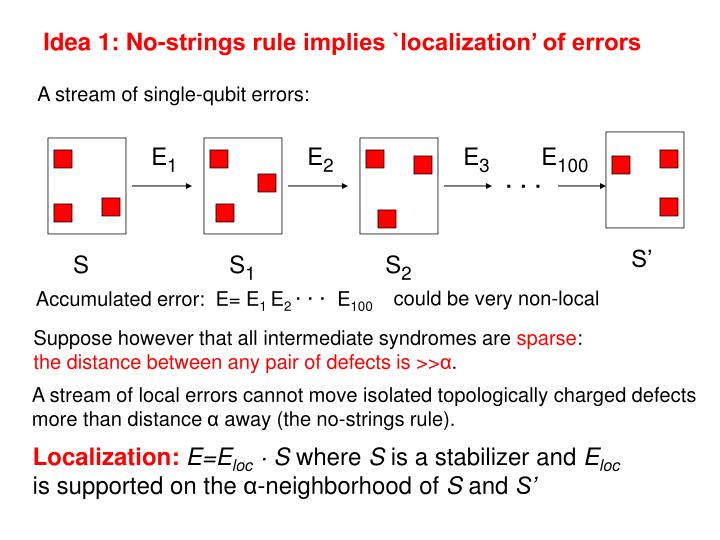 Idea 1: No-strings rule implies `localization' of errors