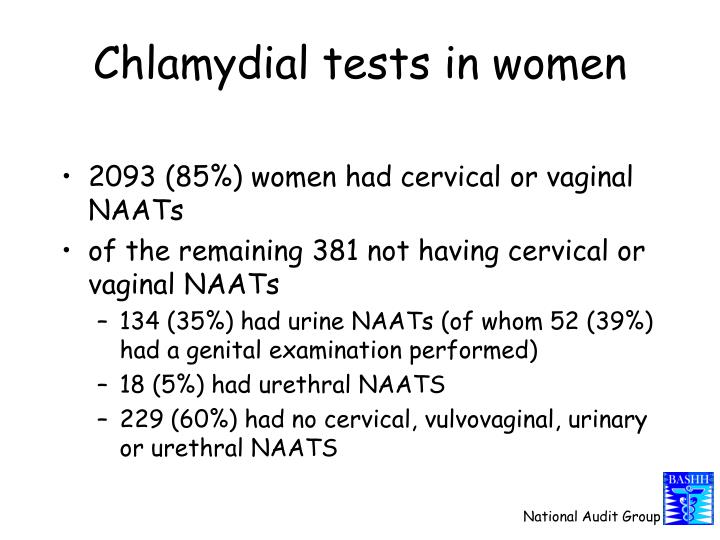 Chlamydial tests in women