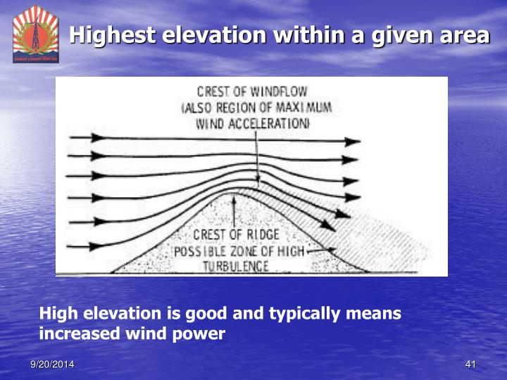 Highest elevation within a given area