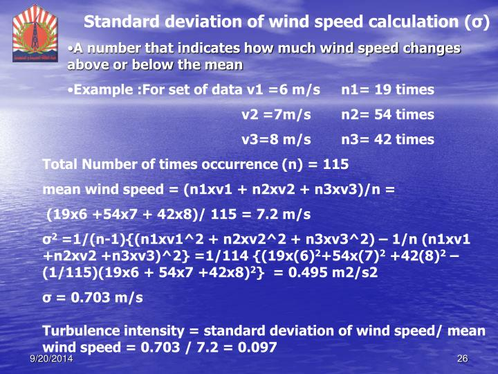 Standard deviation of wind speed calculation (