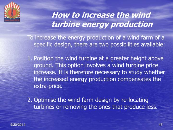 How to increase the wind turbine energy production