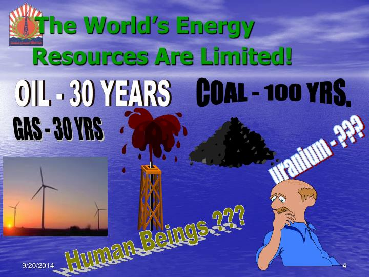 The World's Energy Resources Are Limited!