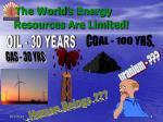 the world s energy resources are limited