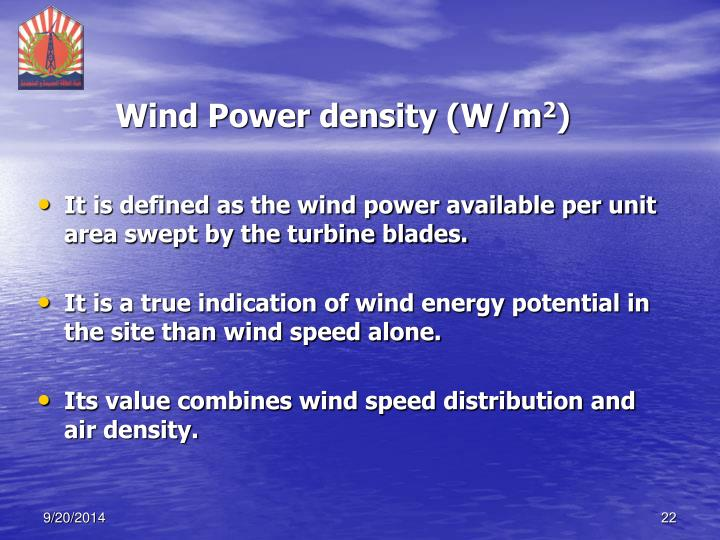 Wind Power density (W/m