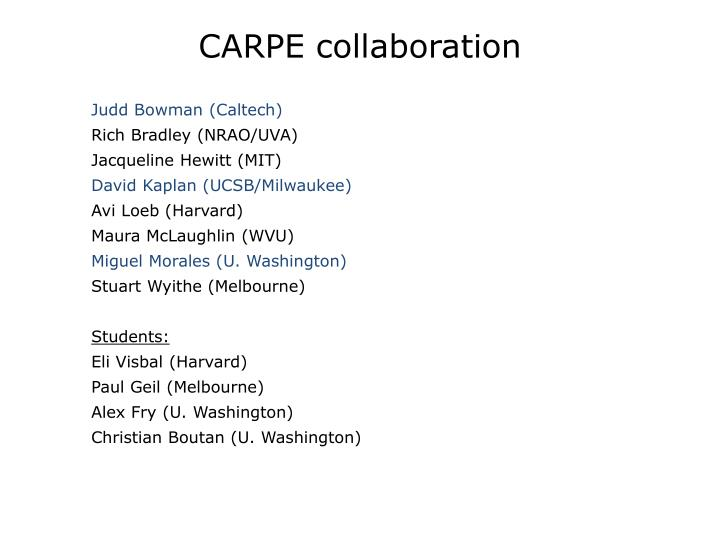 CARPE collaboration